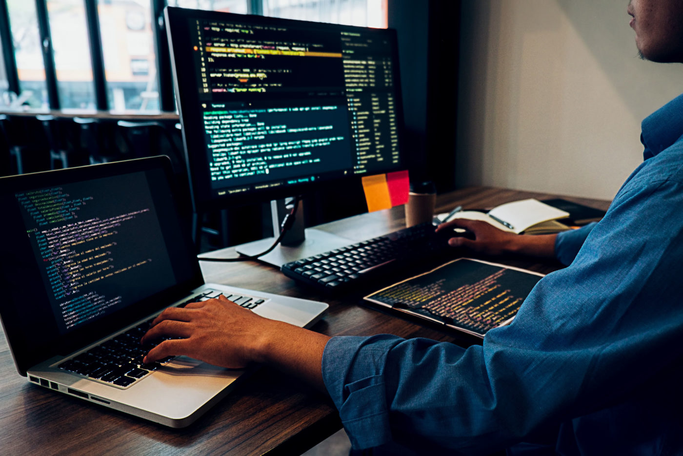 web designer looking at a screen