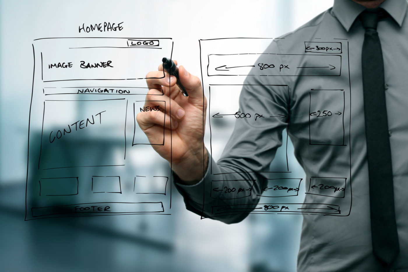 drawing a website wireframe